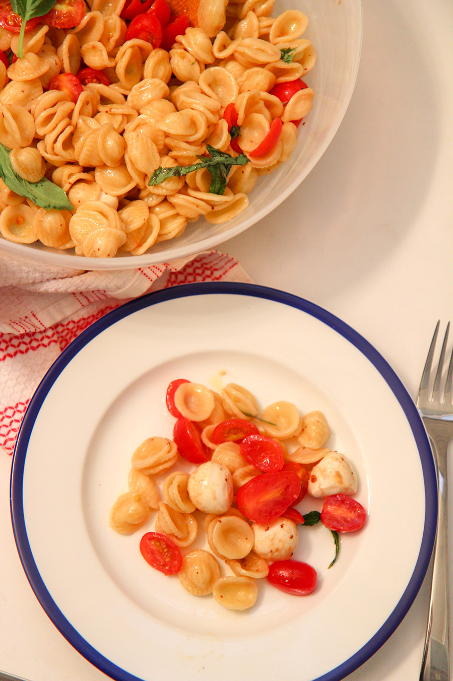a small white and blue plate with pasta and a large bowl with pasta in the background.