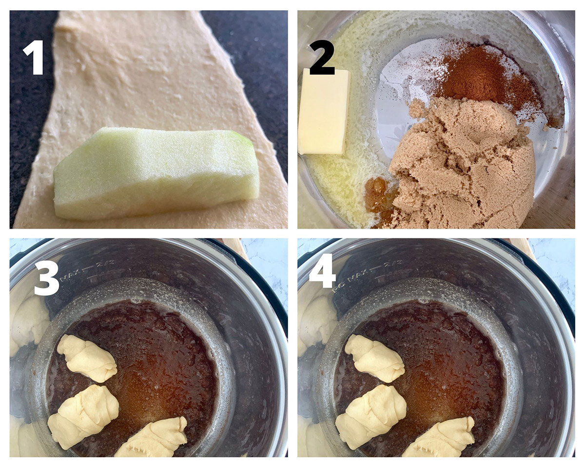 a collage with four photos showing crecent rolls with apples, and a caramel sauce inside the instant pot.