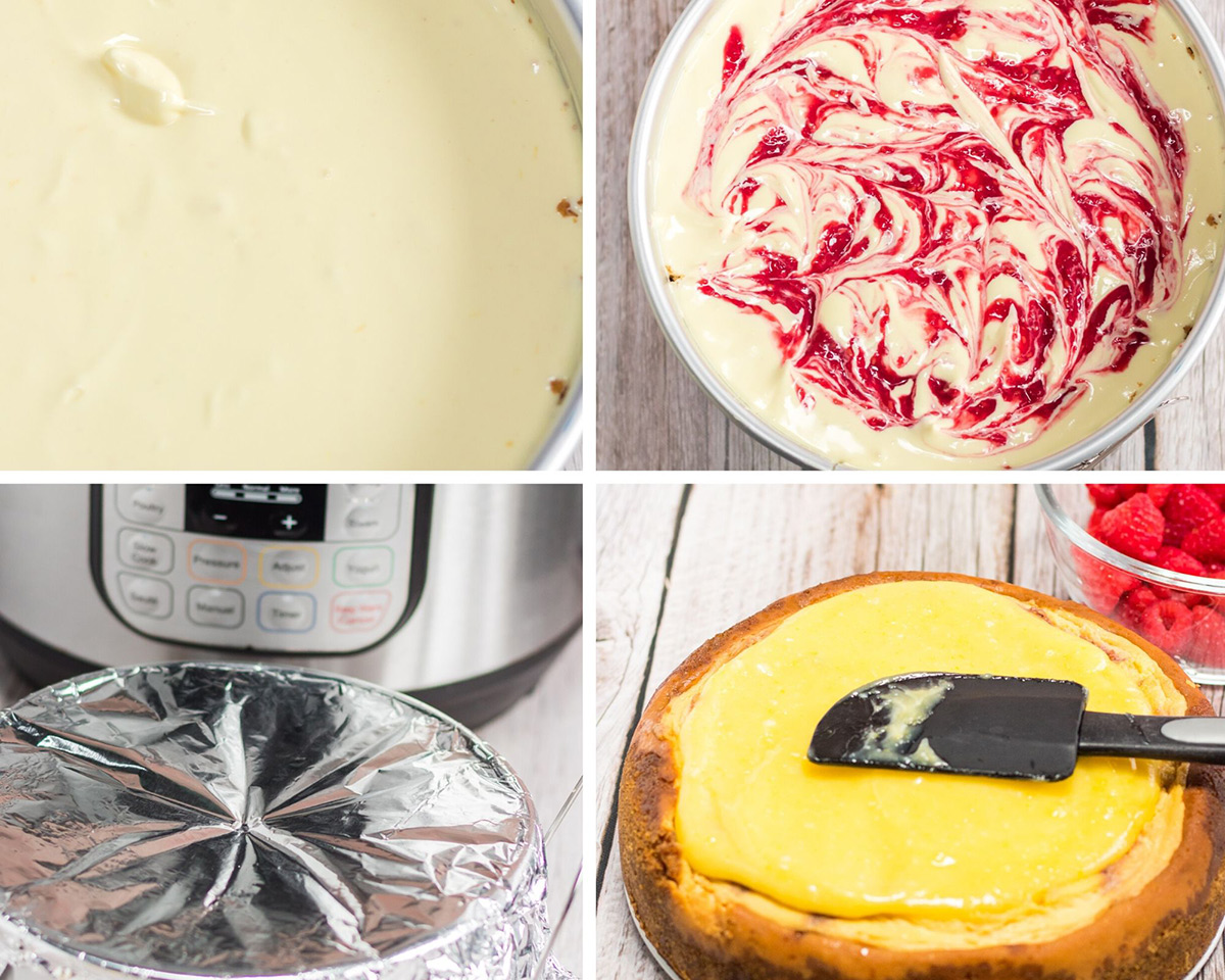 a collage with four photos. Cheesecake batter in a springform pan, raspberry swirl cheesecake batter, aluminum foil covering a springform pan, and a baked cheesecake with lemon topping and a spatula.
