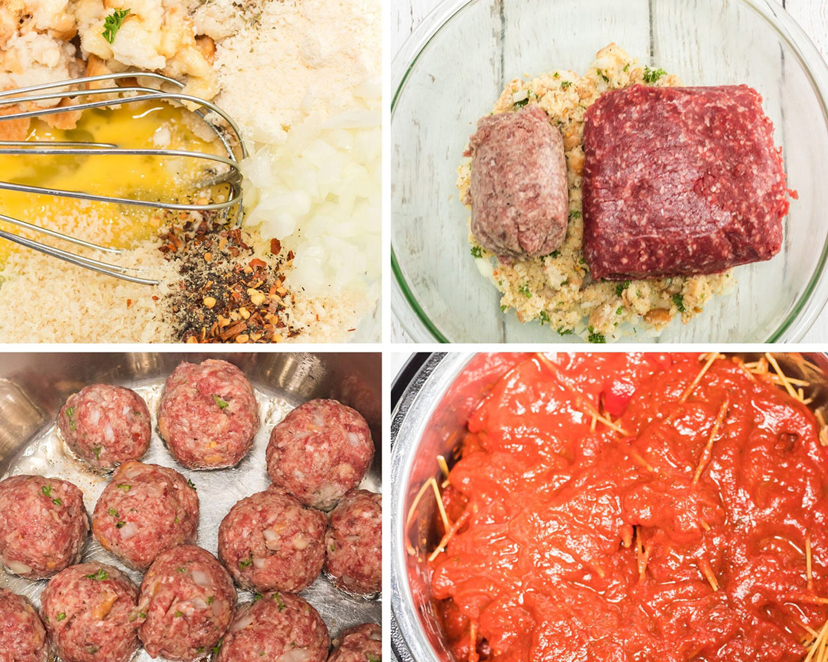 a collage with four photos. A photo of a whisk with breadcrumbs, seasonings, and an egg in a bowl, a bowl with breadcrumb mixture and raw meat, a photo with formed meatballs frying, and a pot with marinara sauce and raw spaghetti.