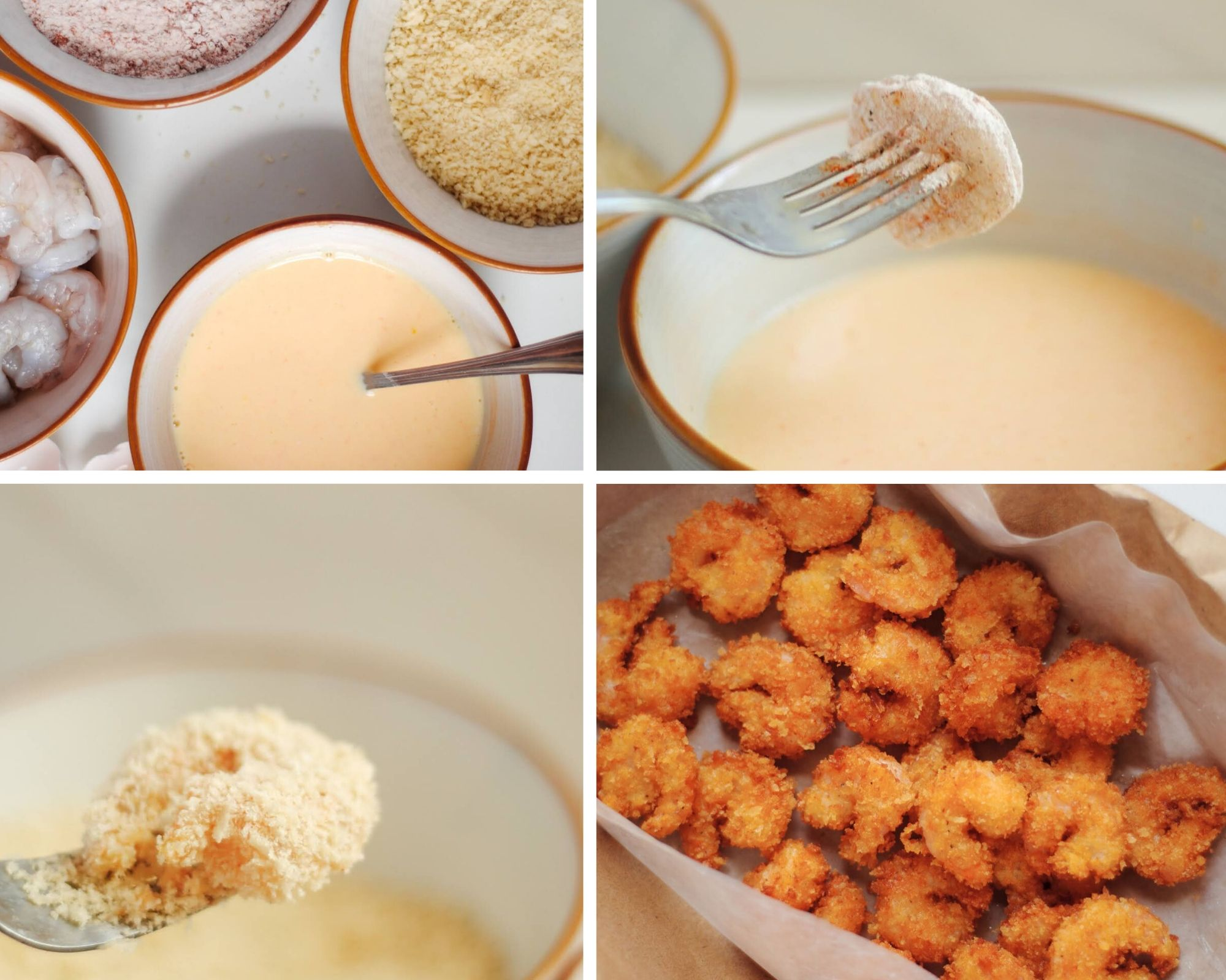 A collage with four photos, a photo with egg mixture, raw shrimp, bread crumbs, and flour. Two photos showing the shrimp being coated in egg and breadcrumbs. One photo showing a sheet pan with fried shrimp.