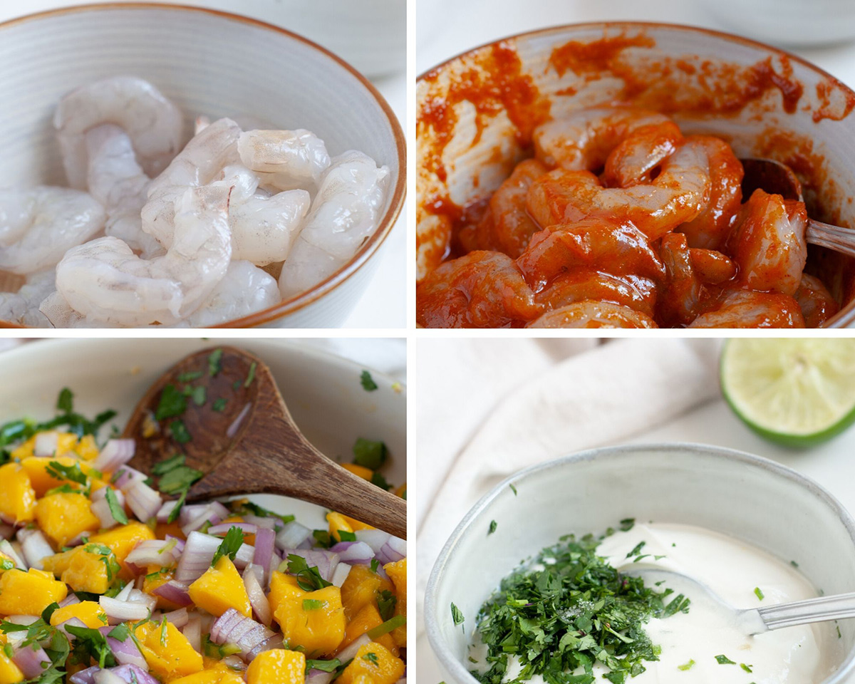 A collage with four photos showing a small white bowl with raw shrimp, one with marinated red shrimp, a bowl of mango salsa, and a bowl of white sauce with cilantro and a lime on the side.