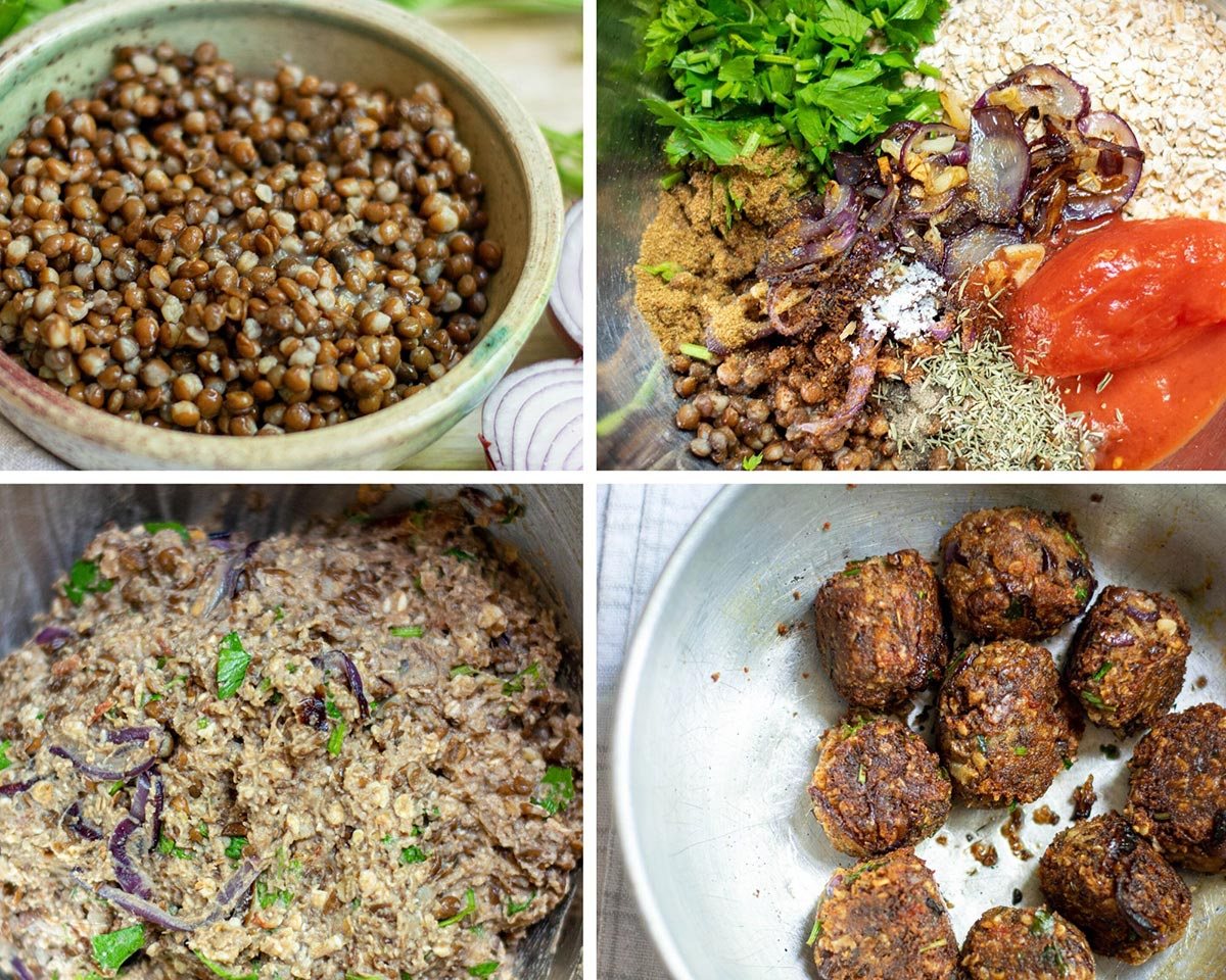 a collage with four photos. A bowl with canned lentils, a bowl with lentils, parsley, tomato, shallots, and garlic, a bowl with the ingredients mixed, and formed cooked meatballs in a skillet.