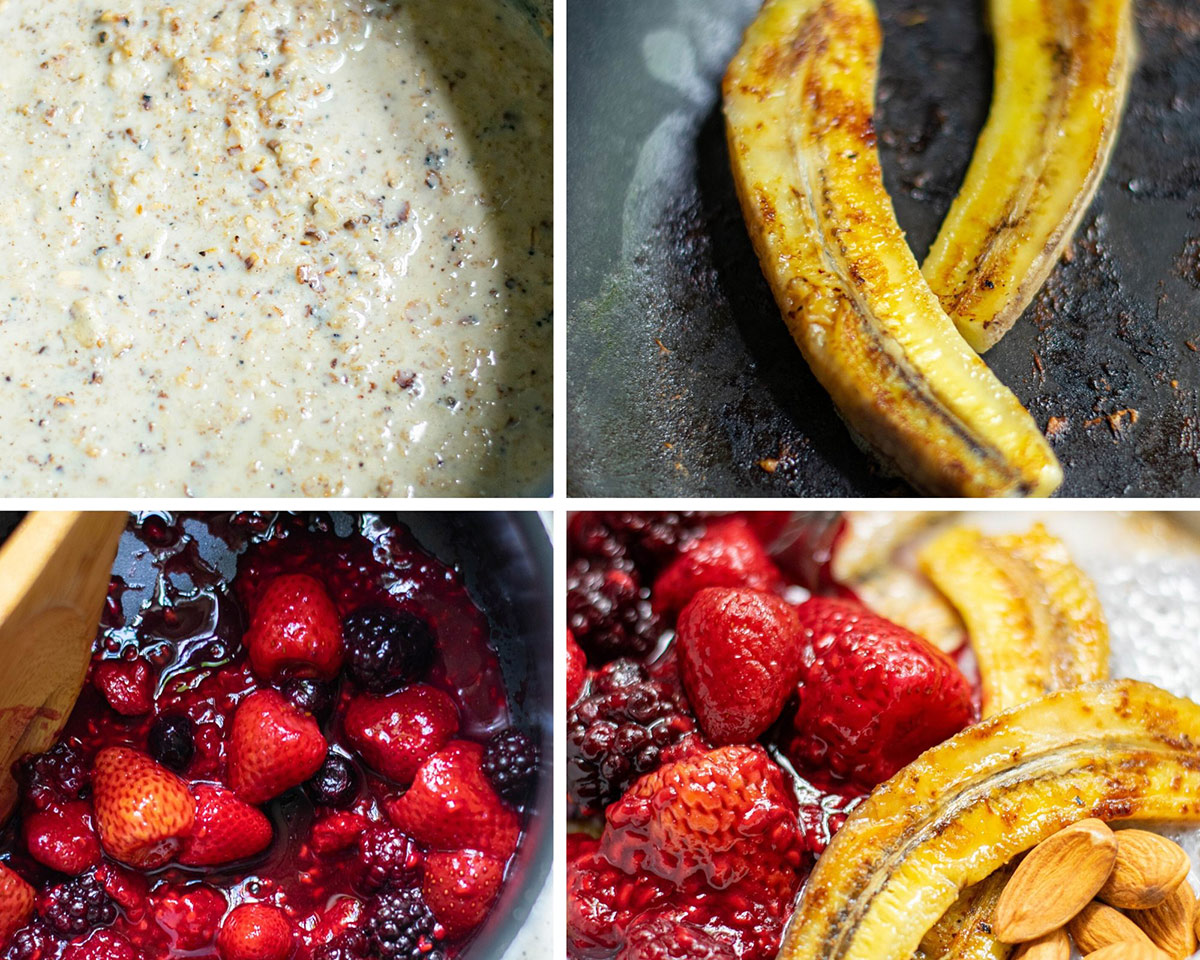 a photo collage with four photos. A photo with oats, a photo with 2 bananas in a skillet, a saucepan with mixed berries, and a final photo with oats, bananas, nuts, and berries in a bowl.
