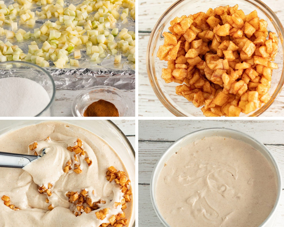 collage with four photos. a baking sheet with diced apples, apples in a bowl, cheesecake filling in a bowl, and cheesecake filling in a springform pan.