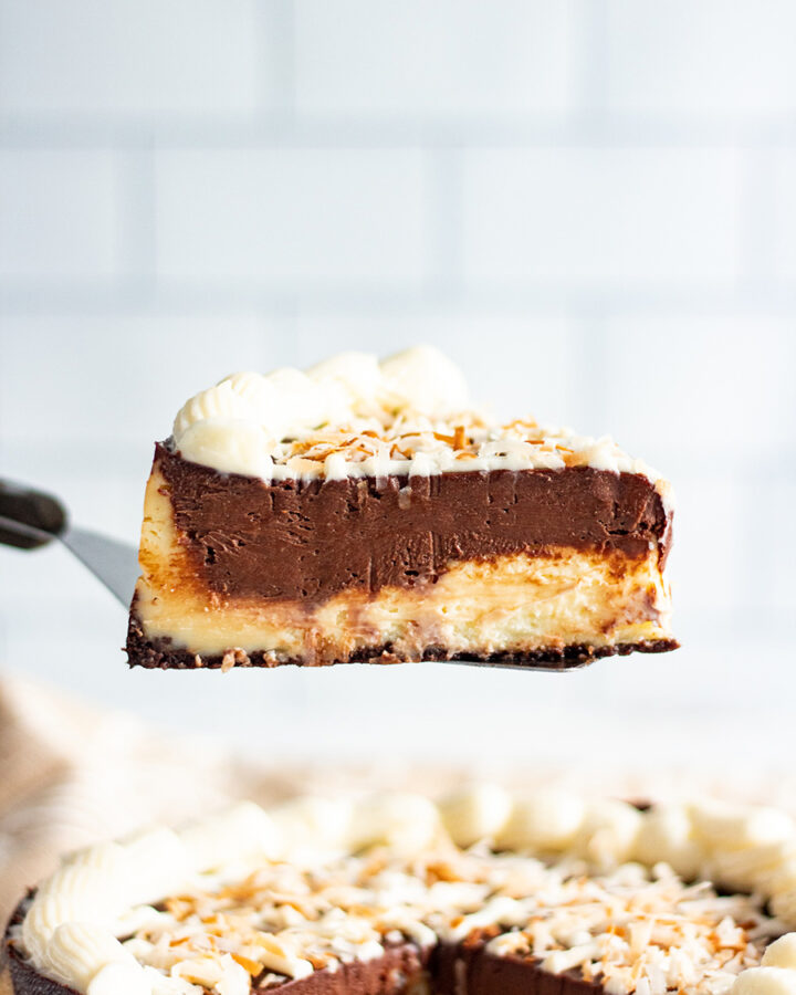 a slice of mounds cheesecake up close.