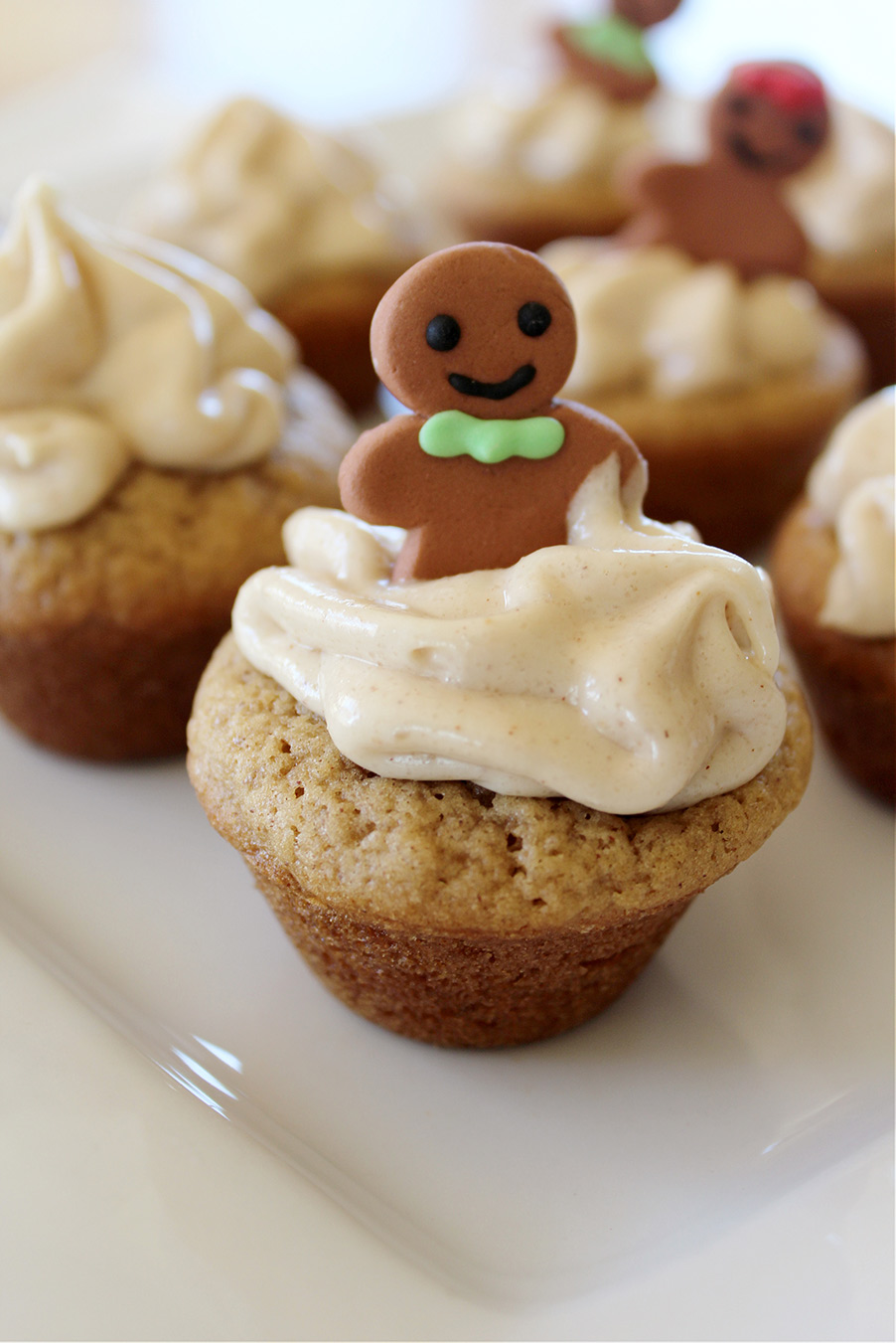 gingerbread cookie cups on a white plate.