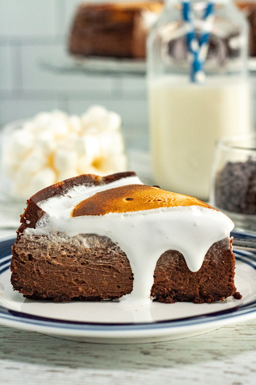 a slice of hot chocolate cheesecake up close.