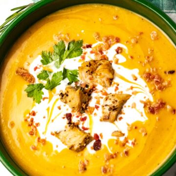 roasted butternut squash soup with creama up close.